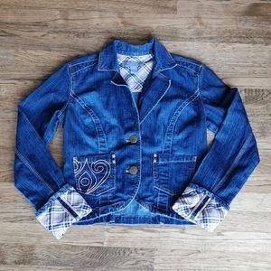 Anisette Stretch Denim Jacket Tan Plaid Detail 1X
